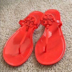 Tory Burch Orange Red Jelly Sandal